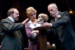 "Alan Wilder, Kate Arrington and Larry Yando in Steppenwolf's ""Fake"""